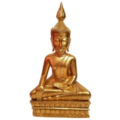Hand Carved Giltwood Thai Buddha