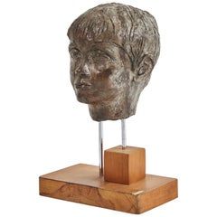 Carved Plaster Bust on Walnut Stand