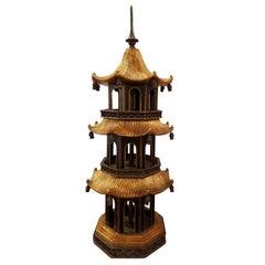 Maitland Smith Three-Tier Black and Gold Tabletop Pagoda