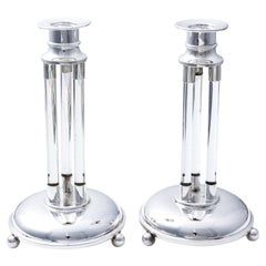 Pair of English Glass and Silver Plate Candlesticks, circaa 1930s