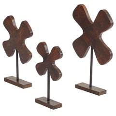 Set of Three Wooden Elements on Stands