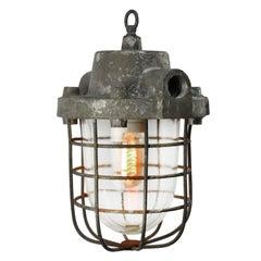 Gray Cast Aluminum Vintage Industrial Clear Glass Factory Pendant Light