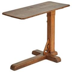 Adjustable Side Working Table in Oak