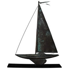 Sailboat Weather Vane on Iron Stand