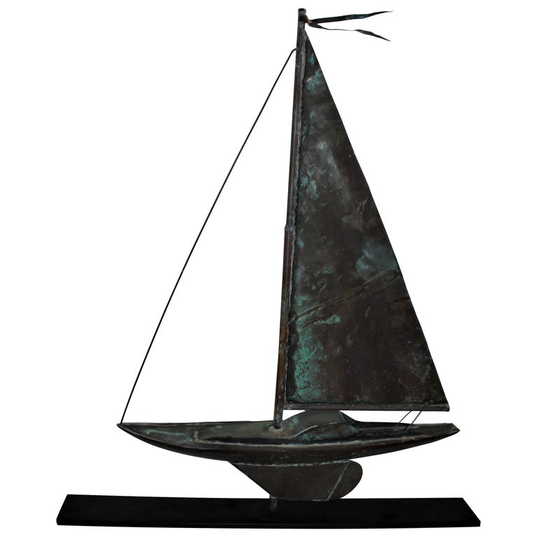 Sailboat Weather Vane on Iron Stand For Sale