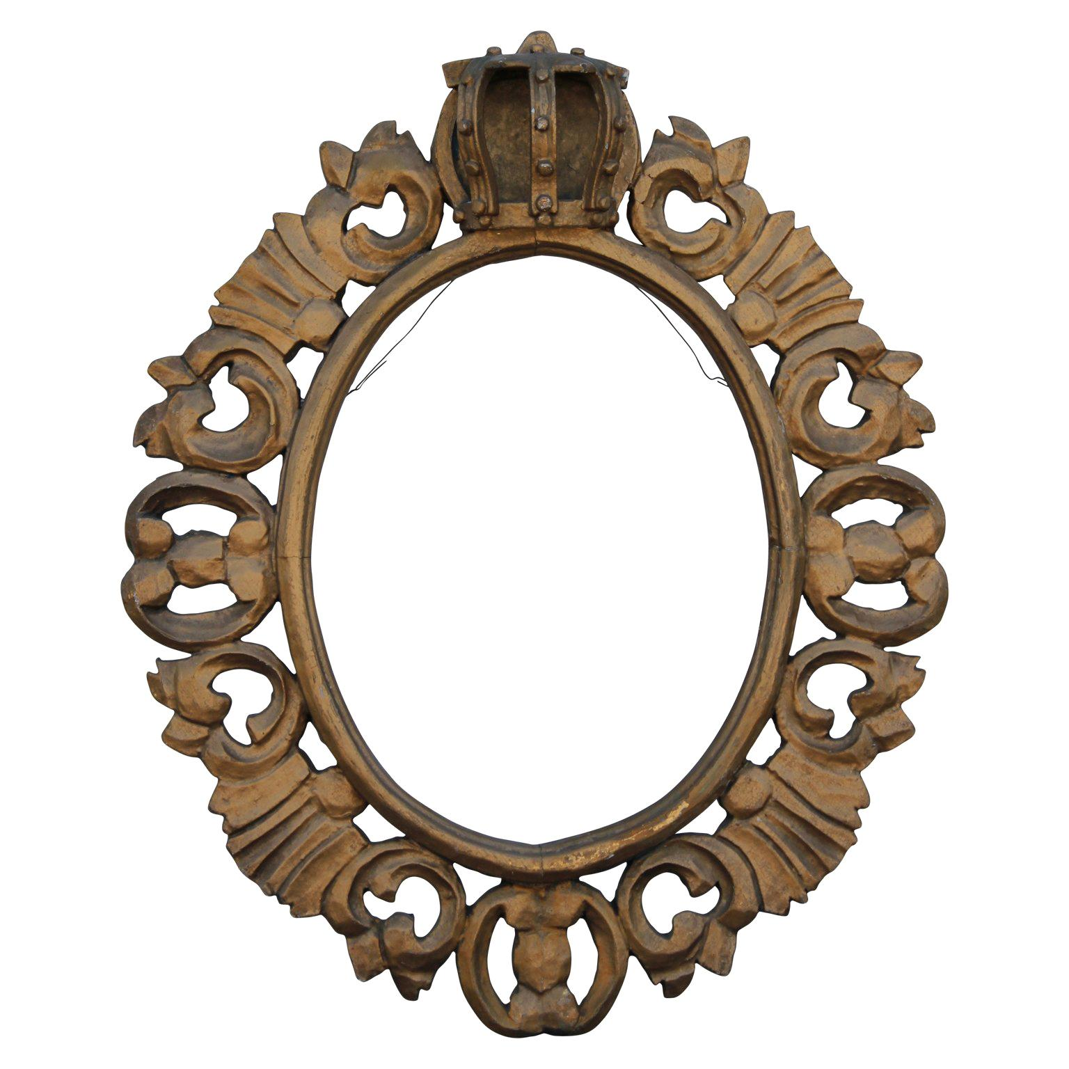 Continental 19th Century Gold Oval Frame Carved Royal Crown and Acanthus Leaves