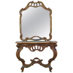 20th Century Antiqued Italian Scroll Console Table and Mirror in Baroque Style
