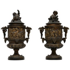 Pair of Antique Neoclassical Bronze Urns