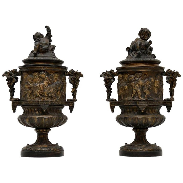 Pair of Antique Neoclassical Bronze Urns For Sale