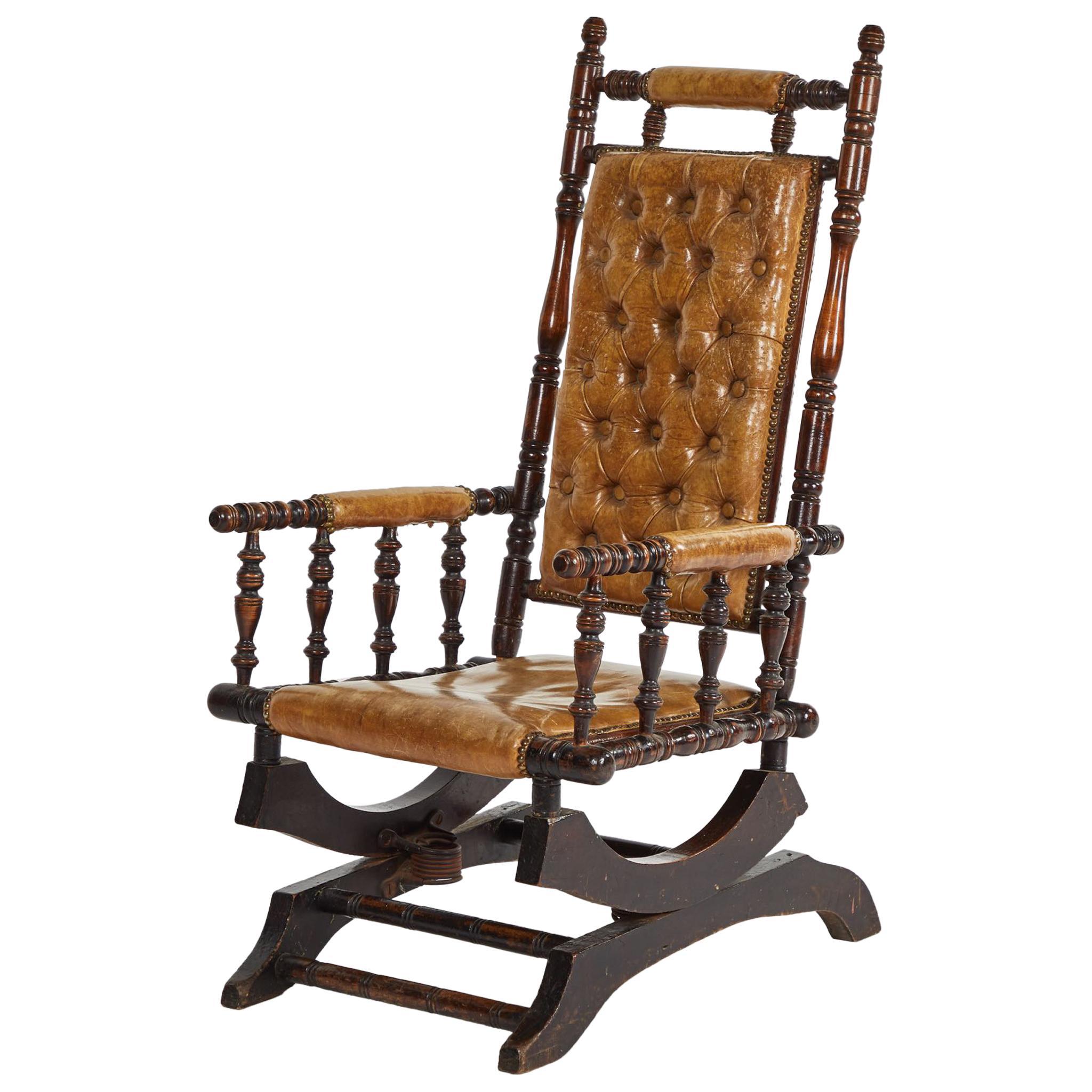 1800-1899 Wooden Folding Antique Dolls Bear Chair Elegant Shape