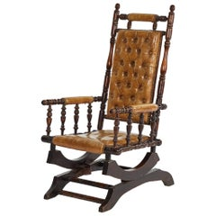 Rocking Chair in Mahogany with Tufted Leather Upholstery