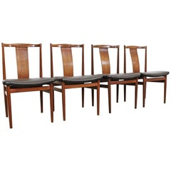 Set of 4 Mid Century Danish Modern Folke Ohlsson Style Teak Dining Chairs