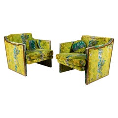 Pair of Sculptural Walnut Lounge Chairs with Jack Larsen Fabric