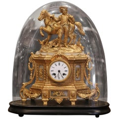 19th Century French Ormulu and White Marble Mantel Clock with Wood Base and Dome