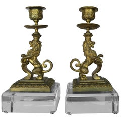 Bronze Lion Candleholders on Lucite Bases, Pair