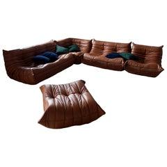 Cognac Leather Togo Living Room Set by Michel Ducaroy for Ligne Roset