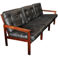 Rosewood and Leather Sofa by Illum Wikkelso