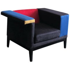 Mondrian De Stijl Style Club Chair in Microsuede
