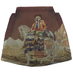 "19th Century ""Gaucho"" Needlework Colorful Tapestry Seat Cover"