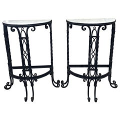 Antique French Demilune Iron and Marble Tables