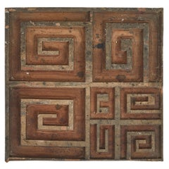Carved Panel in Wood with Key Pattern