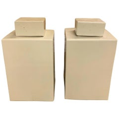 Pair of White Square Canisters, China, Contemporary