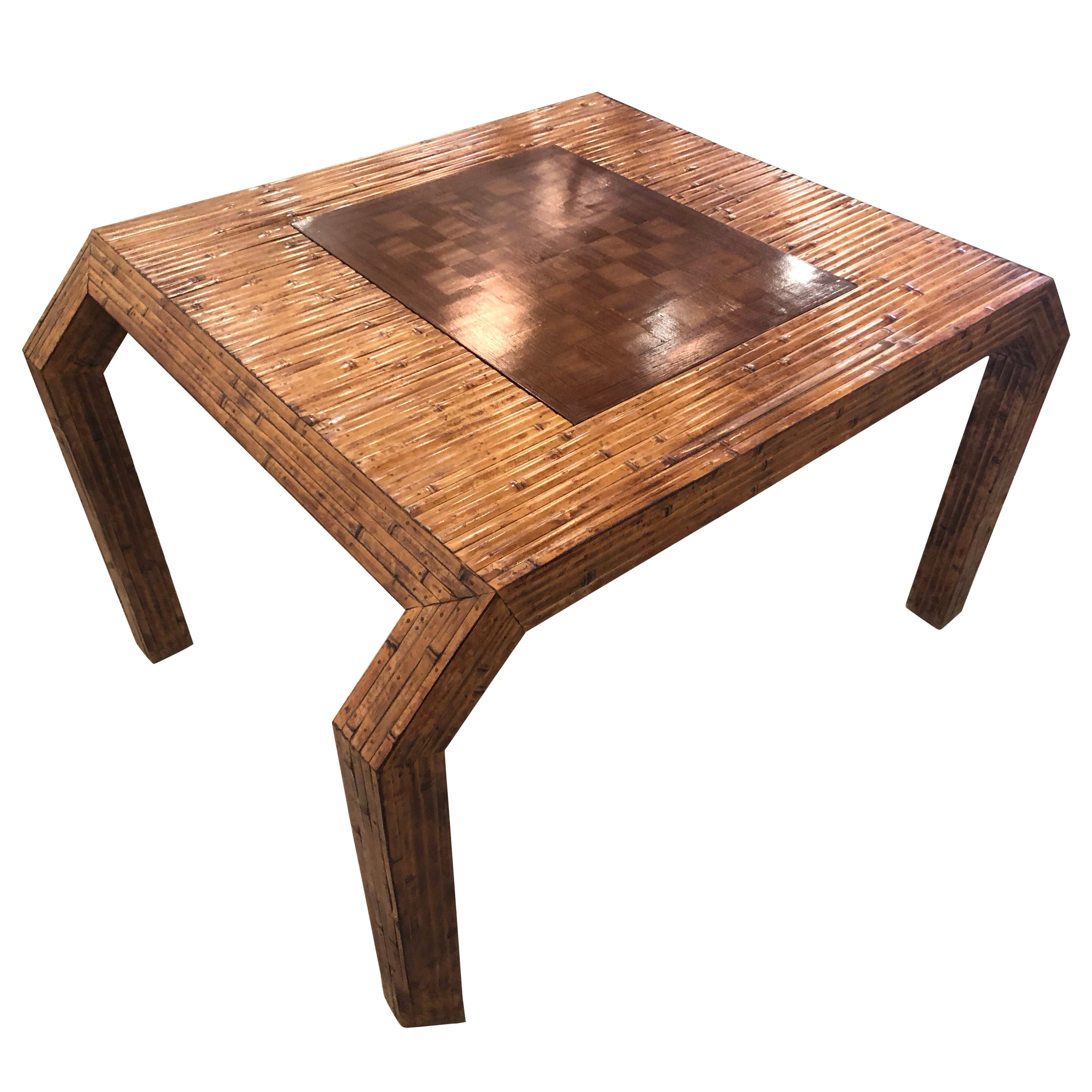 Vintage Palm Beach Bamboo Reed Rattan Game Card Table Flip Top