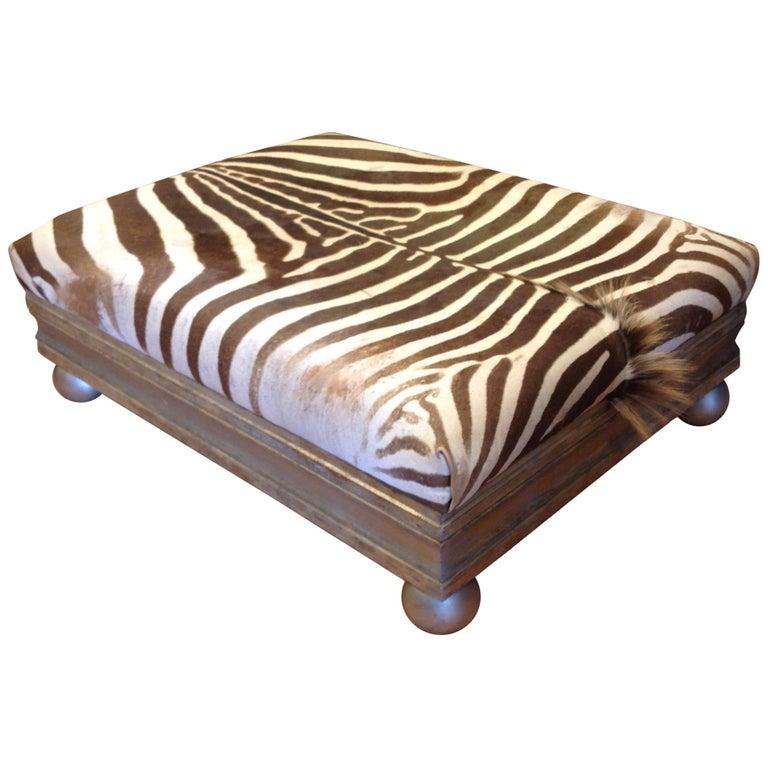 Enormous Zebra Hide Ottoman For Sale