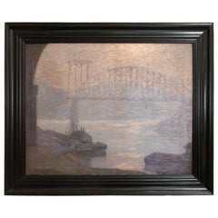 Early 20th Century Oil Painting the New Bridge by Ralph Keneske