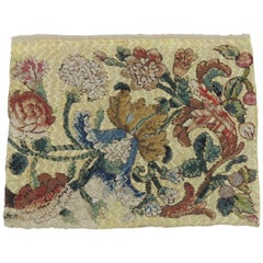 19th Century Italian Floral Embroidery Textile Panel