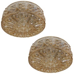 Set of 3 Italian Molded Glass Light Fixtures, Sold Individually