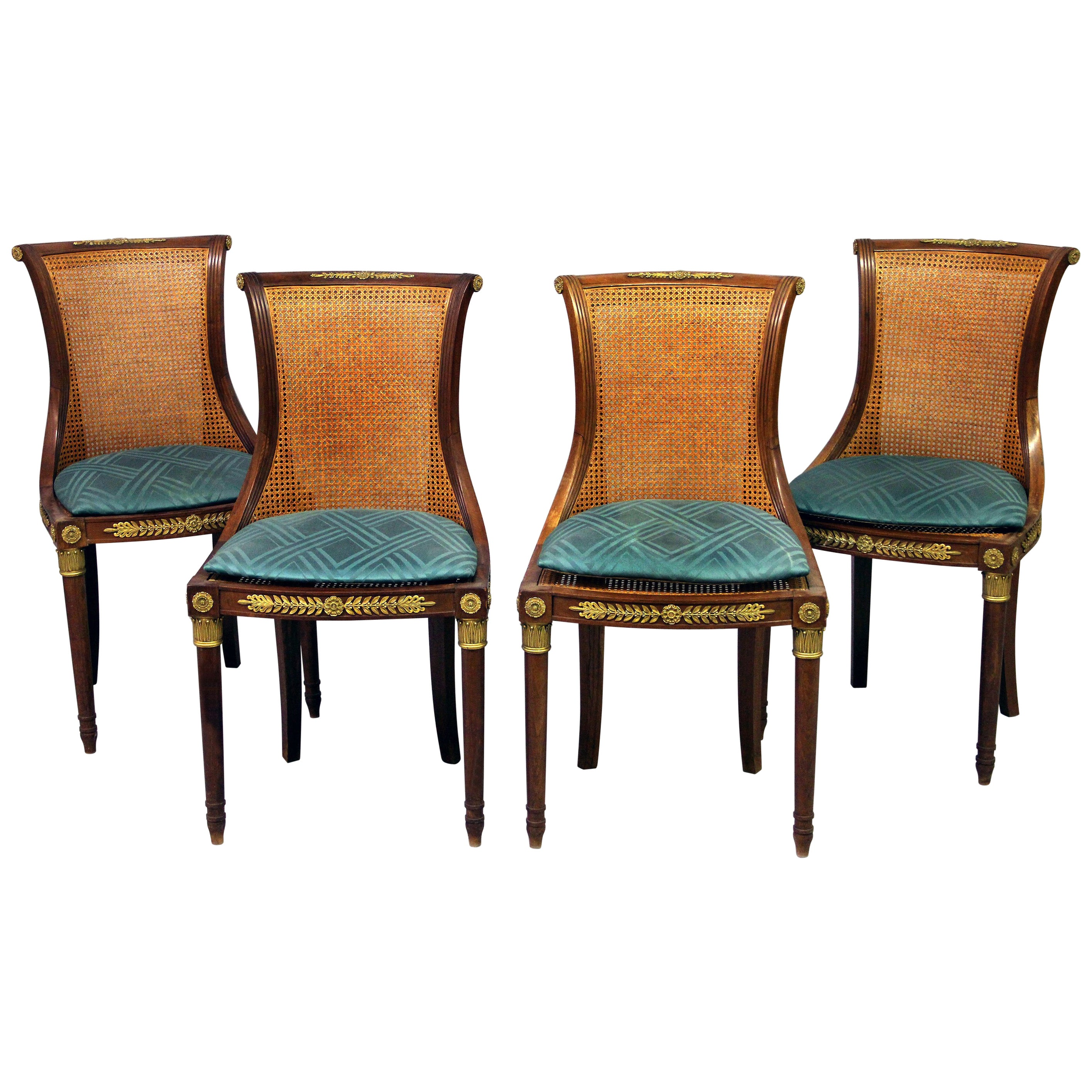 Set of Four Early 20th Century Gilt Bronze Mounted Salon Chairs
