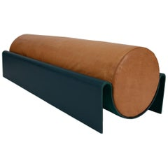 'Monitor' Fiberglass Upholstered Bench in Leather, Limited Edition of 10