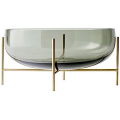 Echasse Bowl by Theresa Arns, with Brass Legs and Smoked Glass