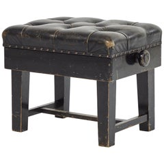 Stool Upholstered in Black Leather