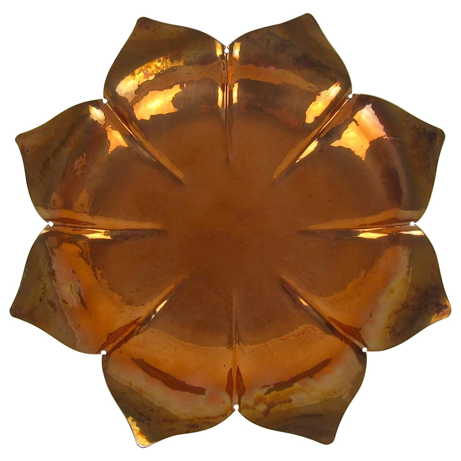 American Art Metal Lotus Platter Dish by Marie Zimmermann