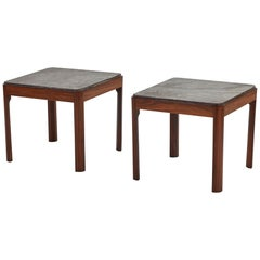 Pair of Coffee or Occasional Tables in Mahogany and Marble