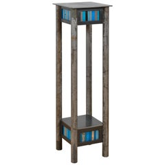 Steel Pedestal, Welded Steel and Found Painted Steel Square Top with Shelf