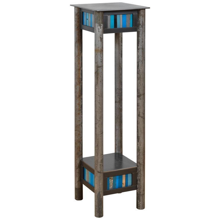 Jim Rose Welded Steel and Found Painted Steel Pedestal Square Top with Shelf