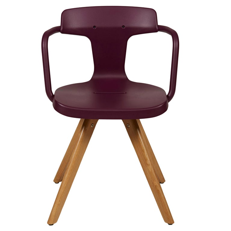 For Sale: Purple (Aubergine) T14 Chair with Wood Legs in Pop Colors by Patrick Norguet and Tolix