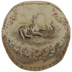 19th Century Oval Aubusson Tapestry Fragment Depicting Wolf and Stork