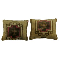 Pair of Turkish Rug Pillows with Pops of Bright Pink