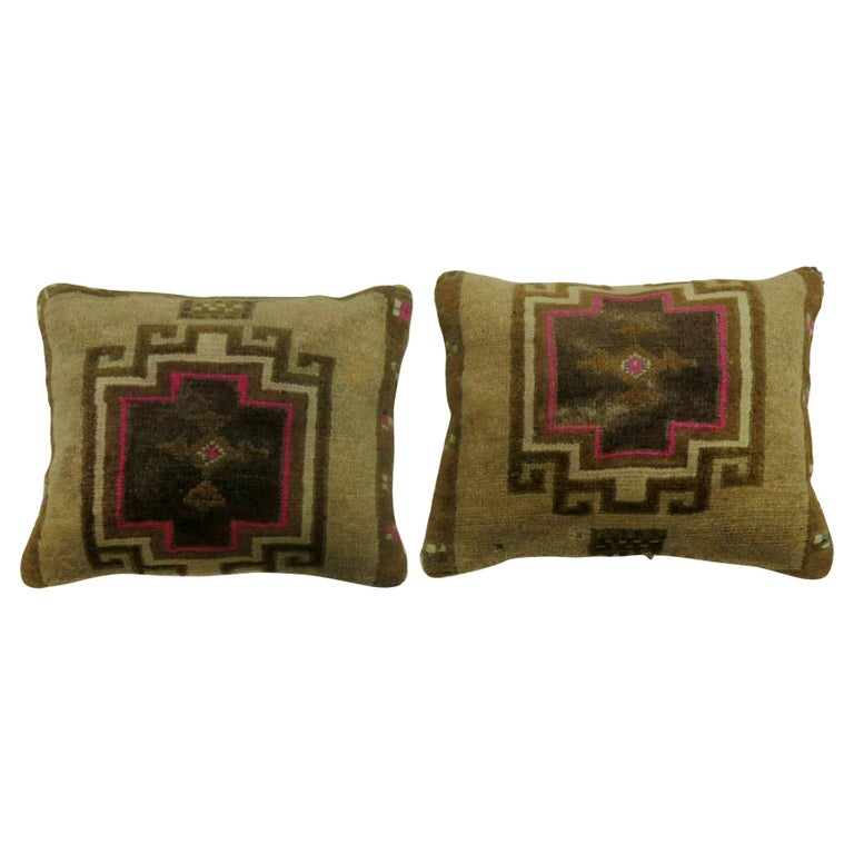 Pair of Turkish Rug Pillows with Pops of Bright Pink For Sale