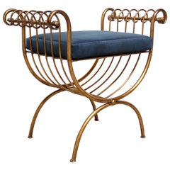 Italian Gilded Metal Stool or Bench with Blue Velvet Cushion by S. Salvadori