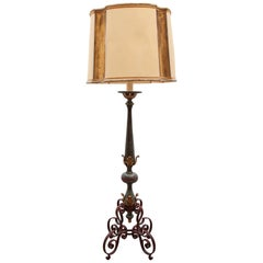 Art Deco Wrought Iron Lacquered and Gilt Leafs Floor Lamp France, 1930s