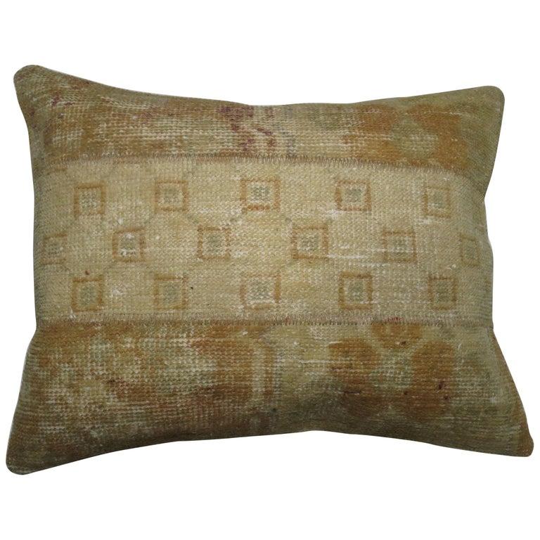 Vintage Oushak Patchwork Rug Pillow For Sale