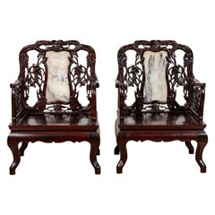 Pair of Chinese Hand Carved Rosewood Armchairs with Marble Splat and Dark Patina