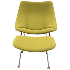Artifort Green Oyster Chair with Ottoman by Pierre Paulin