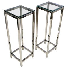 Pair of Fine Brueton Style Chrome and Glass Pedestals