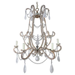 Rock Crystal Beaded Frame Chandelier with Beaded Garlands, Mid-20th Century